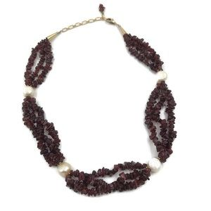 GARNET Freshwater Pearl 14k Gold collar Necklace